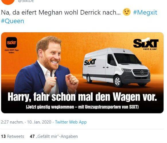 """Wie Sixt aus dem """"Megxit"""" einen Marketing-Gag machte (Beitragsbild: Screenshot Twitter/SixtDE)"""